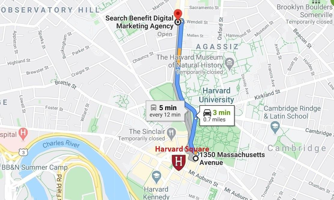 Map for getting to Search Benefit from Harvard Square