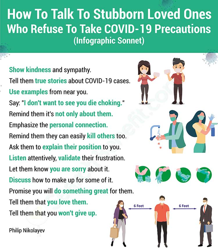 How Do We Persuade Deniers of COVID-19 Safety Measures, an Infographic Sonnet by Philip Nikolayev
